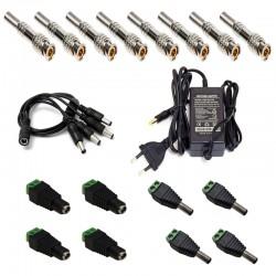 Комплект захранване за охранителни камери с конектори 12V/2A