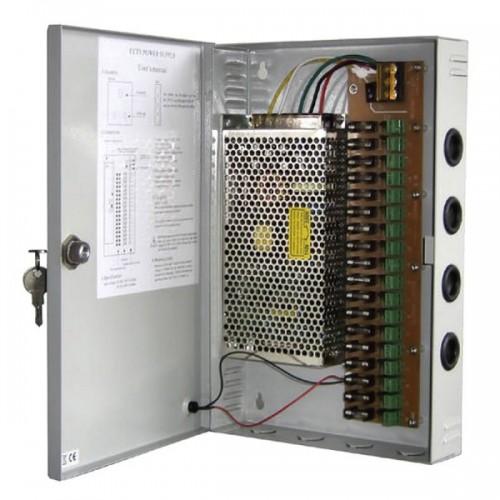 Захранващ блок 12VDC/10A за видеонаблюдение в метална кутия