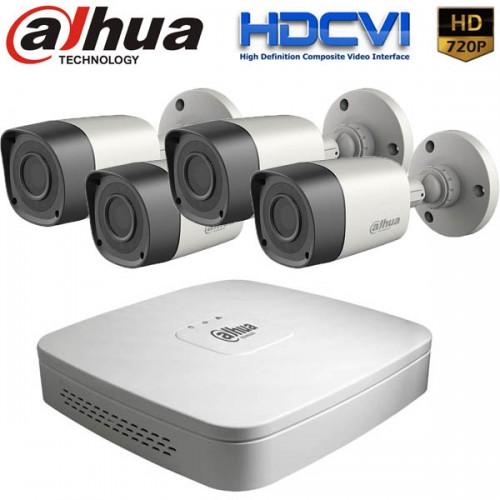 Комплект за видеонаблюдение Dahua с 4 бр. HDCVI Булет Камери и Рекодер - HD 720p резолюция
