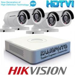 Комплект за видеонаблюдение Hikvision с 4 бр. HD-TVI Булет Камери и Хибриден Рекодер - HD 720p резолюция