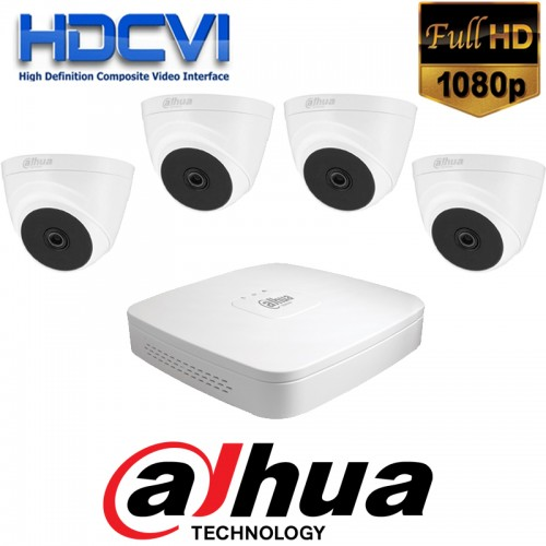 Комплект за видеонаблюдение Dahua с 4 бр. HDCVI Куполни Камери и Рекодер - Full HD 1080p резолюция