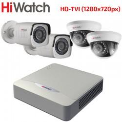 HD-TVI Комплект за Видеонаблюдение HiWatch с 4 бр. камери HD 720p, за вътрешен и външен монтаж