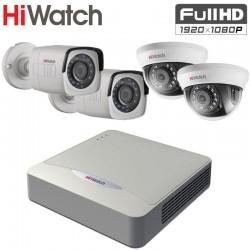 FULL HD TVI Комплект за Видеонаблюдение HiWatch с 4 бр. камери, за вътрешен и външен монтаж