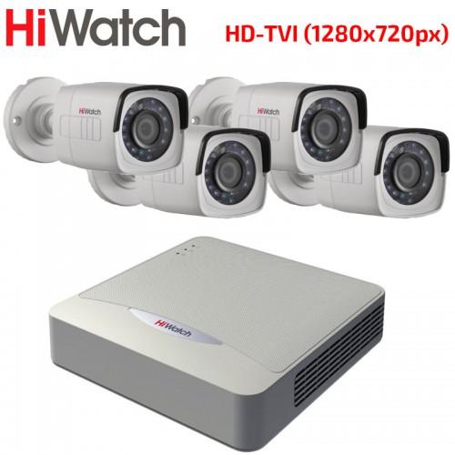 HD-TVI Комплект за Видеонаблюдение HiWatch с 4 бр. булет камери HD 720p, за външен монтаж
