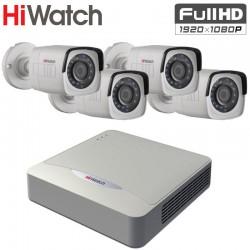 FULL HD TVI Комплект за Видеонаблюдение HiWatch с 4 бр. булет камери , за външен монтаж