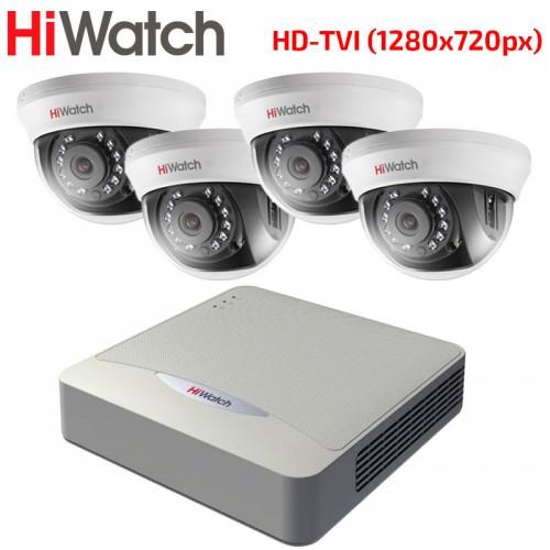 HD-TVI Комплект за Видеонаблюдение HiWatch с 4 бр. куполни камери HD 720p, за вътрешен монтаж