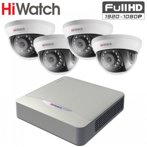 Full HD TVI Комплект за Видеонаблюдение HiWatch с 4 бр. куполни камери, за вътрешен монтаж