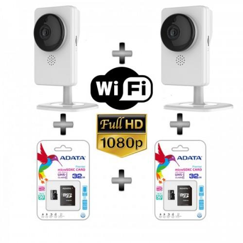 Комплект за видеонаблюдение 2бр. Безжични FullHD камери с вграден микрофон и карта памет